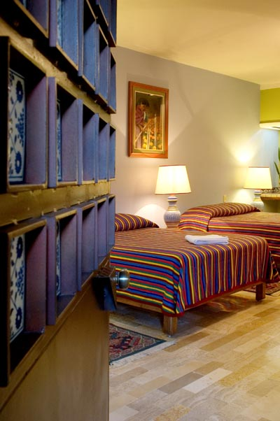 Room at Guadalajara Hotel Casa de las Flores Bed and Breakfast in Tlaquepaque, Jalisco, Mexico, the folk art capital of Mexico